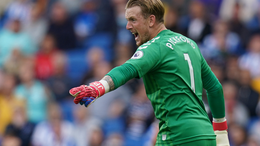 Jordan Pickford bellowing instructions during Everton's 2-0 victory over Brighton