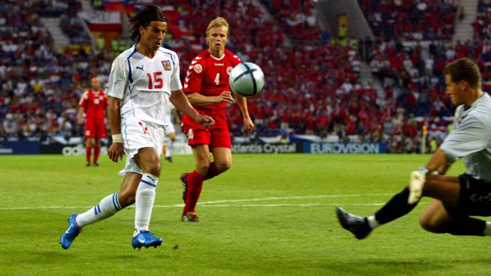 Milan Baros scores the first of his two goals against Denmark