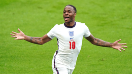Raheem Sterling races away after opening the scoring for England at Wembley