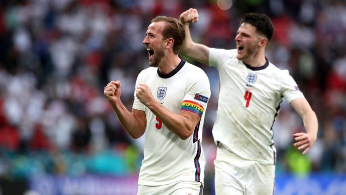 England skipper Harry Kane celebrates after netting his first goal at Euro 2020