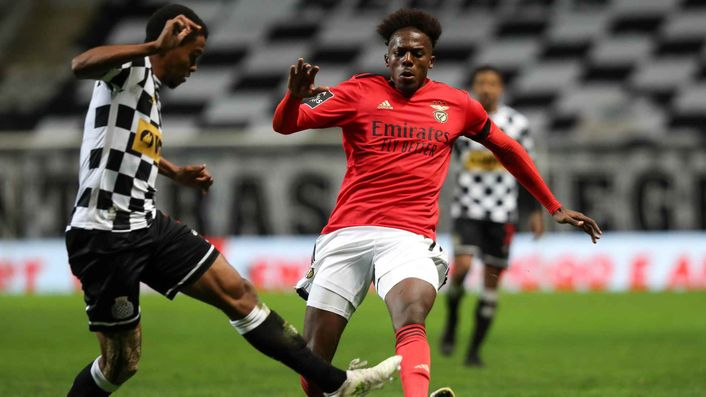 Benfica's Nuno Tavares (right) is strongly linked with a move to Arsenal