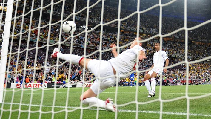 The ball has already crossed the line as John Terry attempts to clear