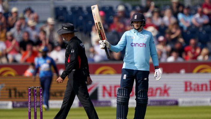 Joe Root celebrates as he passes 50 on his way to 79* against Sri Lanka
