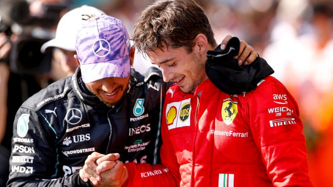 Charles Leclerc, right, led the British Grand Prix for 49 laps before being caught by winner Lewis Hamilton