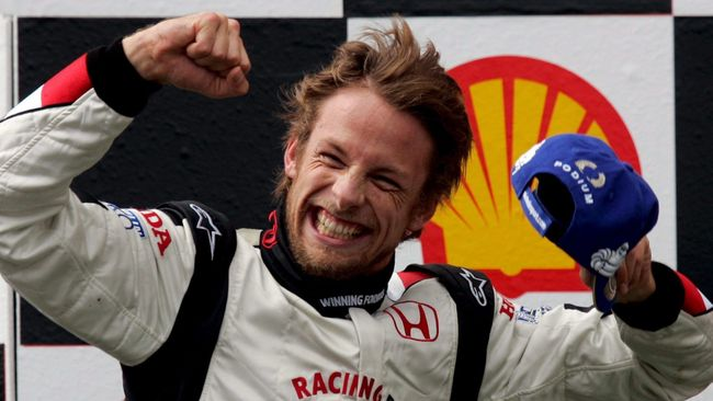 Jenson Button is overjoyed after winning the 2006 Hungarian Grand Prix having started in 14th place on the grid